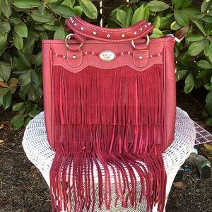 NWT Montana West Fringe Handbag In Burgundy